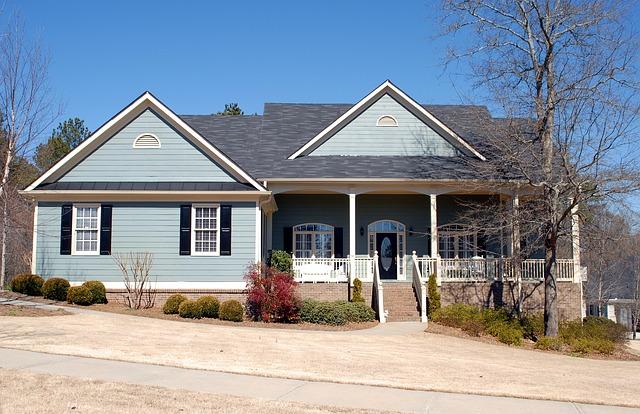 modrý dům, schody, ulice
